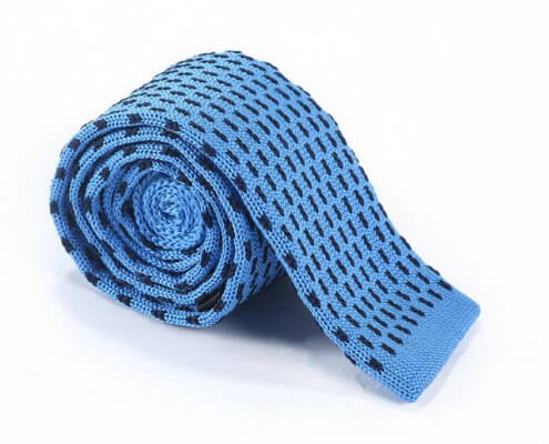 blue knitted tie