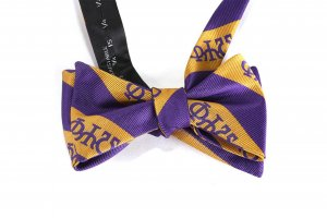 purple and gold bow tie